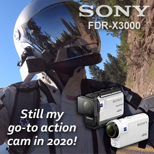 Sony FDR-X3000 Action Cam, great for motorcycle vlog and steady, high-speed action shots.
